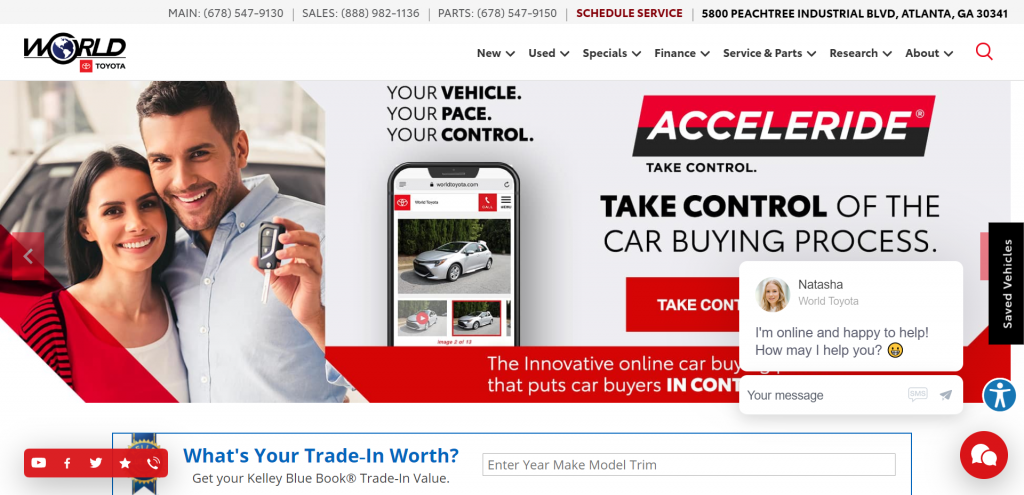 Example of a busy, cluttered website