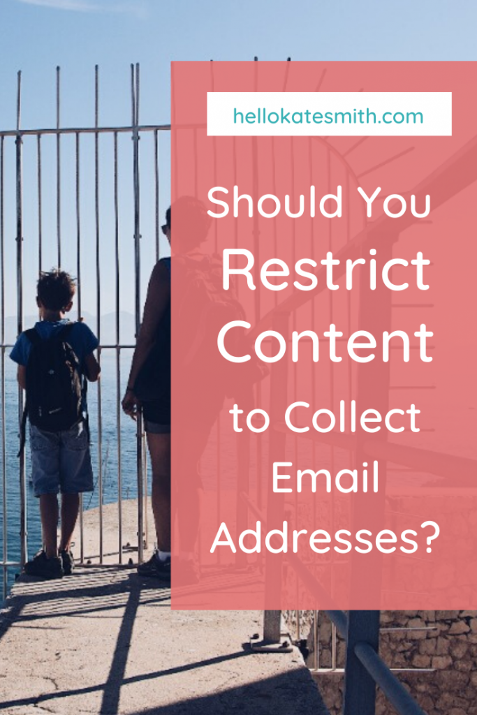 woman and child standing in front of a gate. Text: Should you use gated content?