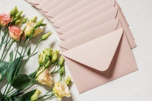 envelopes and flowers