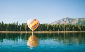 Hot air balloon on lake